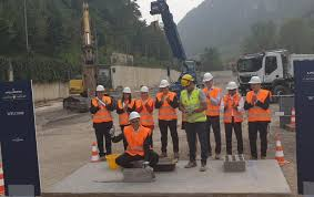 posa della prima pietra del nuovo stabilimento Sanpellegrino
